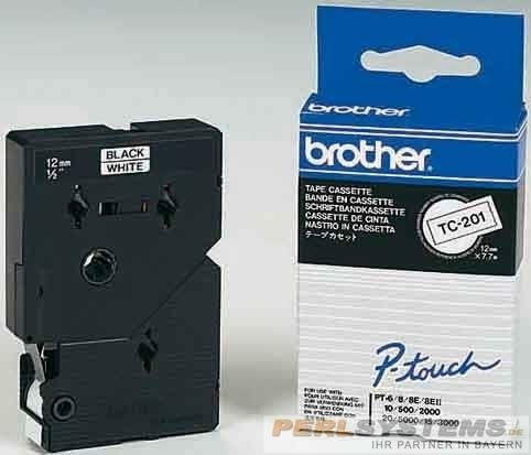 Brother TC102 P-TOUCH 12mm Rot auf Farblos 7,7m laminated