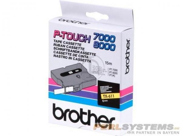 Brother TX611 P-TOUCH 6mm Schwarz auf Gelb 15m laminated