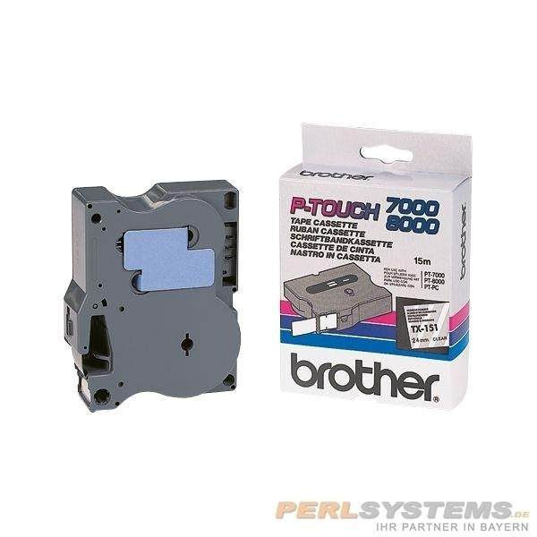 Brother TX151 P-TOUCH 24mm Schwarz auf Farblos P-Touch 7000 8000 PC