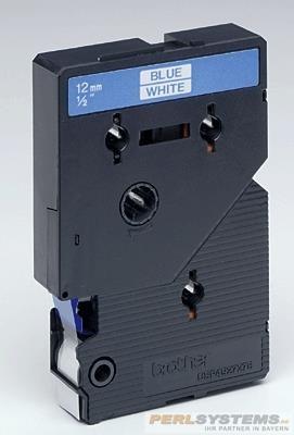 Brother TC203 P-TOUCH 12mm Blau auf Weiß 7,7m laminated
