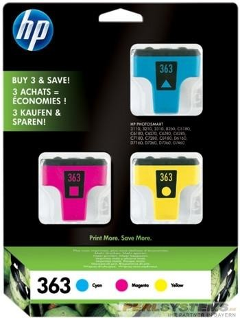 HP 363 Tinte 3-Pack C/M/Y PS3110 PS8250 PSD7100