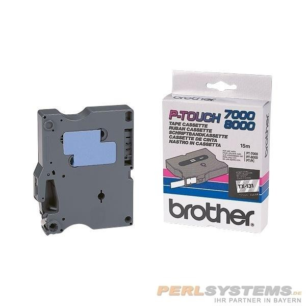 Brother TX131 P-TOUCH 12mm Schwarz auf Farblos P-Touch 7000 8000 PC