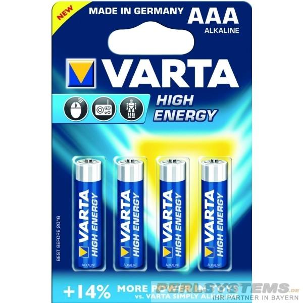Varta LR03 AAA High Energy Alkali Micro 1,5V 4903 4er Blister